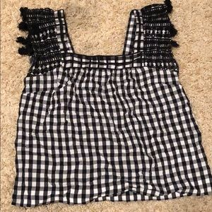 J. Crew Gingham Top with tassels NWOT